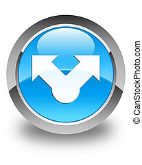 Share icon glossy cyan blue round button