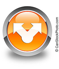 Share icon glossy orange round button