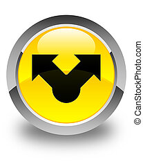Share icon glossy yellow round button