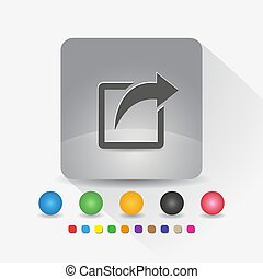 Share icon. Sign symbol app in gray square shape round corner with long shadow vector illustration and color template.