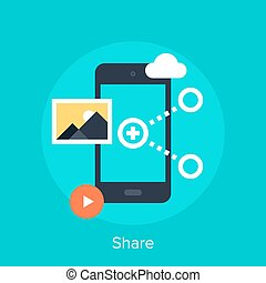 Share icon - Vector illustration of data sharing flat design...