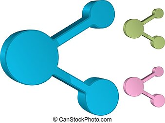 Share Icon 3D, Vector Illustration, Easy to Recolor