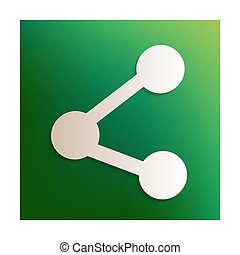 Share icon. Paper effect on green background