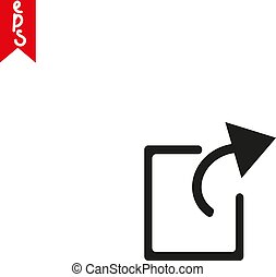 Share icon with square and black arrow vector illustration on transparent background