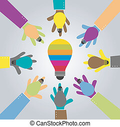 share idea bulb - hand showing an idea bulb for big idea...