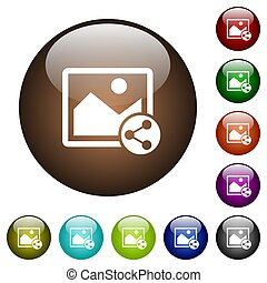 Share image color glass buttons