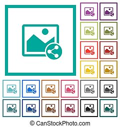 Share image flat color icons with quadrant frames