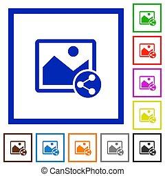 Share image flat framed icons