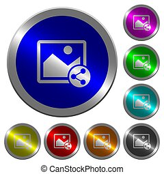 Share image luminous coin-like round color buttons