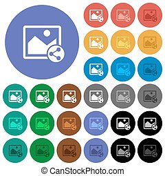 Share image round flat multi colored icons