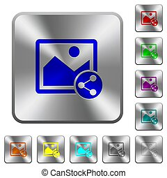 Share image rounded square steel buttons