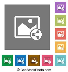 Share image square flat icons