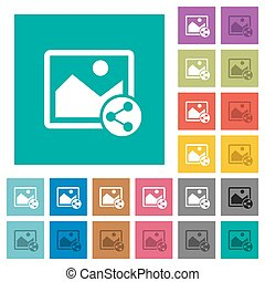 Share image square flat multi colored icons