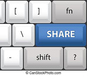 Share key on a computer keyboard - illustration