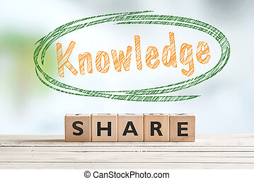 Share knowledge sign on a table with a sketch