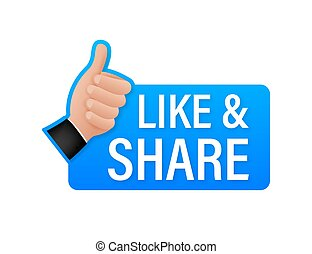 Share like on white background. Thumb up. Hand like. Social media sign. Vector stock illustration.