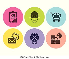 Share mail, Reject medal and Report icons set. Shopping cart, Face recognition and Puzzle signs. Vector