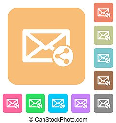 Share mail rounded square flat icons