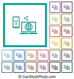 Share mobile internet flat color icons with quadrant frames...