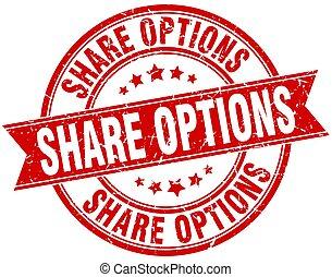 share options round grunge ribbon stamp