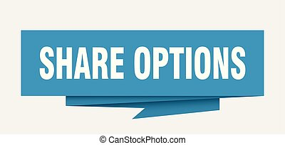 share options sign. share options paper origami speech...