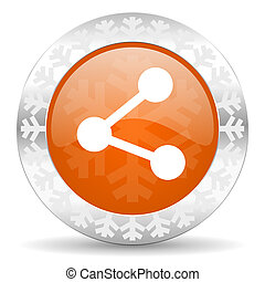 share orange icon, christmas button