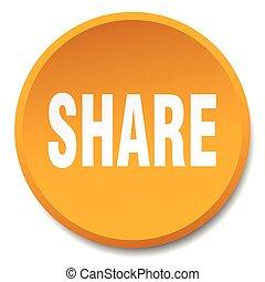 share orange round flat isolated push button