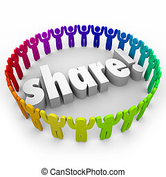 Share people gathering joining together in helping or volunteer efforts for community involvement