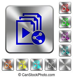 Share playlist rounded square steel buttons