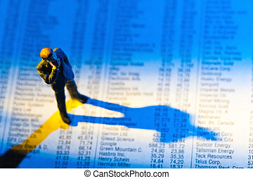 share prices in a newspaper - a small figure and the prices...