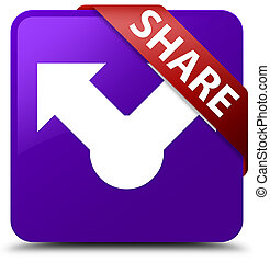 Share purple square button red ribbon in corner