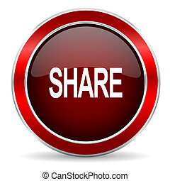 share red circle glossy web icon, round button with metallic border