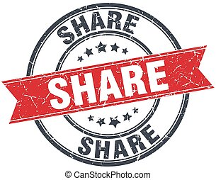 share red round grunge vintage ribbon stamp