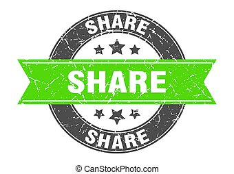 share round stamp with green ribbon. share