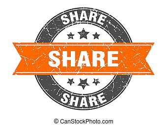 share round stamp with orange ribbon. share