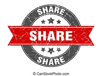 share round stamp with red ribbon. share