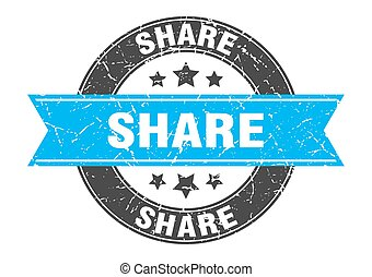 share round stamp with turquoise ribbon. share