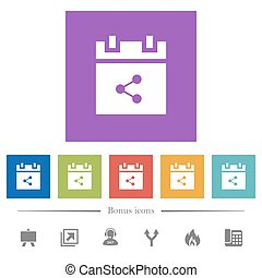 Share schedule item flat white icons in square backgrounds....