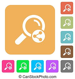 Share search rounded square flat icons