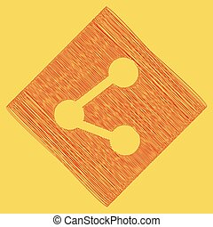 Share sign illustration. Vector. Red scribble icon obtained as a result of subtraction rhomb and path. Royal yellow background.