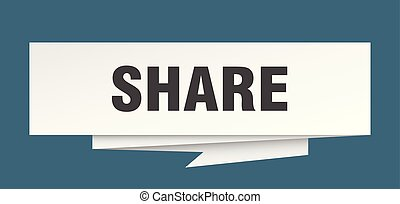 share sign. share paper origami speech bubble. share tag....