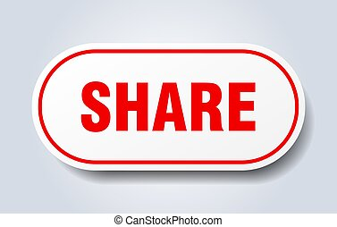 share sign. share rounded red sticker. share