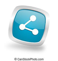 share square blue glossy chrome silver metallic web icon