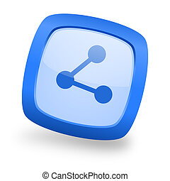 share square glossy blue web design icon