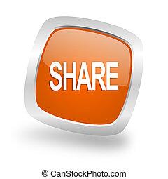 share square orange glossy chrome silver metallic web icon