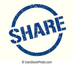 share stamp - share blue round stamp
