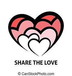 Share the love concept design with shades of red hearts icon. Vector illustration.