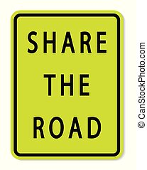 Share The Road Sign on white background