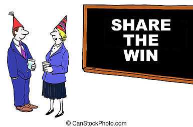 Share the Win - Business cartoon of 'share the win'.