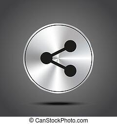 share vector icon metallic isolated on dark background